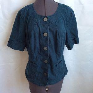 J Jill Linen Blnd Top Shirt 16 Dark Teal Button XL